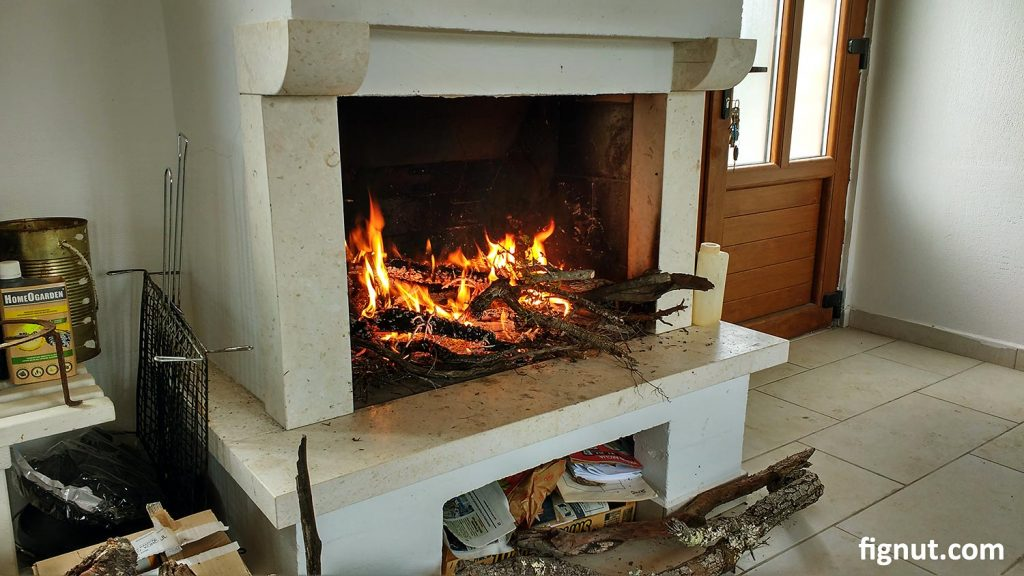 The fireplace in the cottage