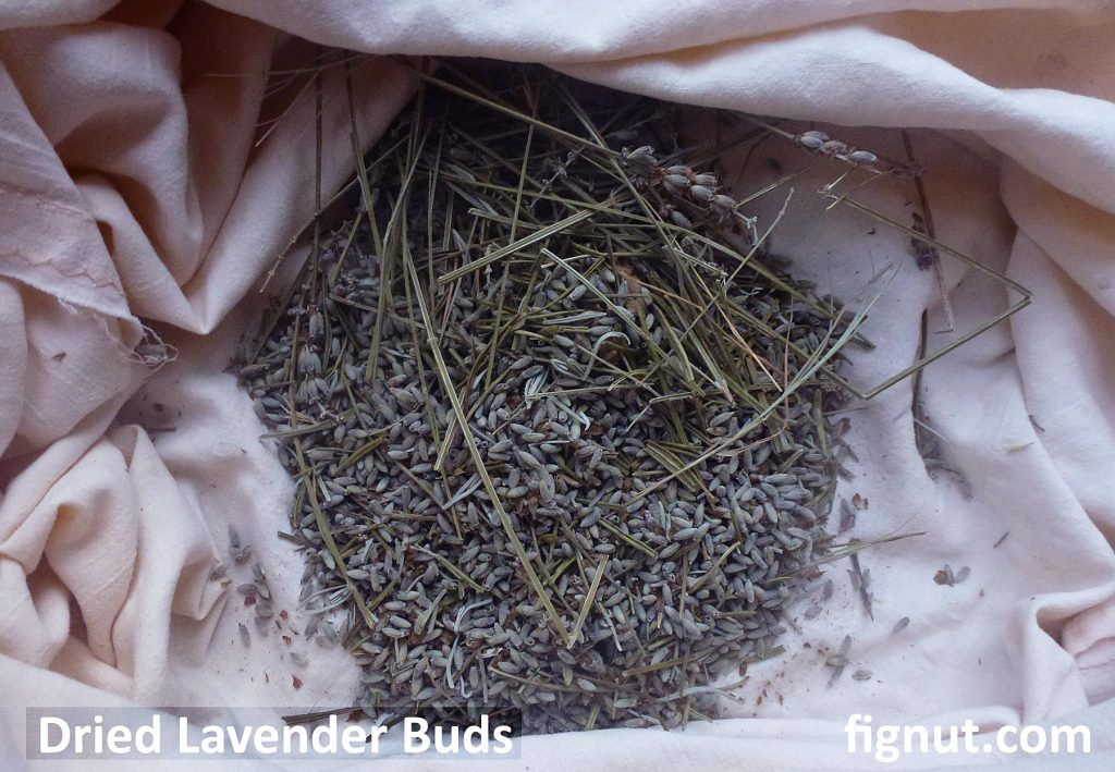 Dried flower buds left at the bottom of the cotton bag