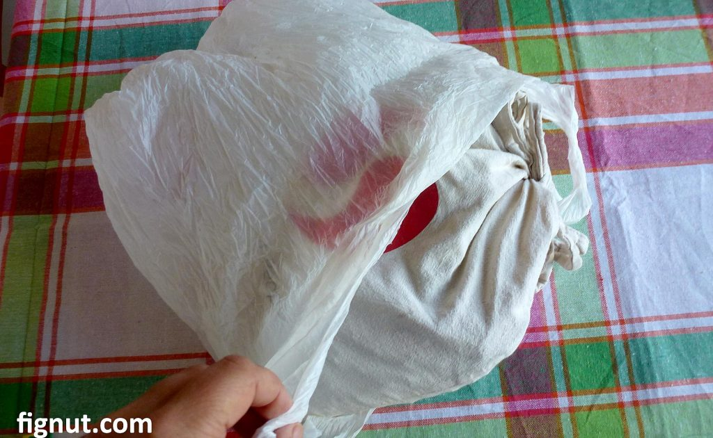 Put the cotton bag in the plastic bag